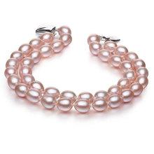 6-7mm Double Strands Natural Cultured Pearl Bracelet, Lavender