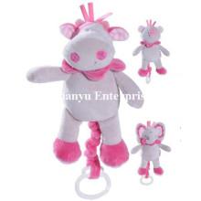 Fábrica de suministros de bebé relleno de peluche movimiento musical Hang Toy