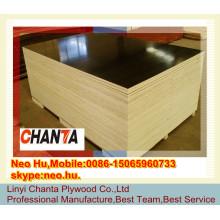 Linyi mais barato 18 milímetros de cor preta poplar núcleo de madeira compensada marinha