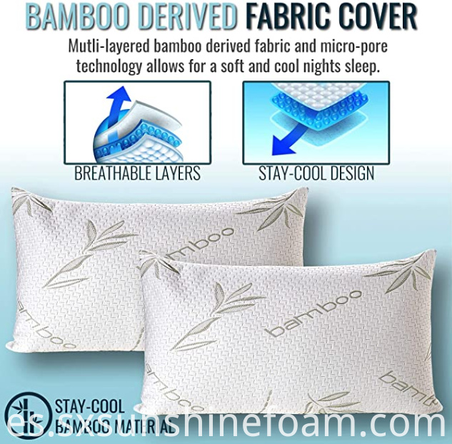 Shredded Memory Foam Pillow Bamboo Cover