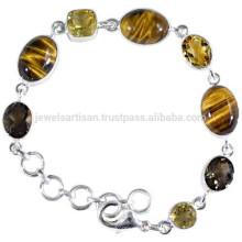 Натуральный тигровый глаз цитрин & дымчатый кварц драгоценный камень с 925 Серебряный дизайнерский Браслет