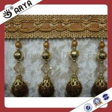 Dekorative Pom Pom Fransen mit Kunststoff Perlen für Vorhang oder Lampe