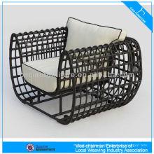 Chaise extérieure de nid d'osier rond en aluminium de conception
