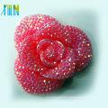 2016 charm pink resin flower flat back chunky loose resin bead