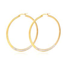 Hohe Qualität Großhandel Edelstahl Kristall Hoop Ohrring Gold Ohrringe für Frauen