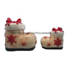 Pintado a mano de Navidad Tarro de galletas de cerámica