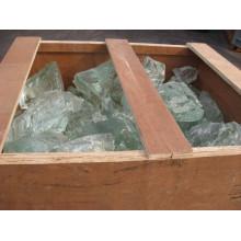 Roca de vidrio verde para interiores y exteriores decorativos