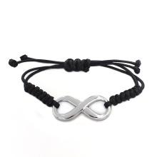 2016 nuevo diseño libre mensaje personalizado negro brazalete de pulsera de cuero pulsera