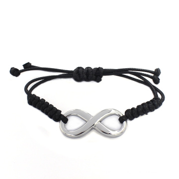 2016 New Design Free Custom Message Black Braided Leather Bangle Bracelet