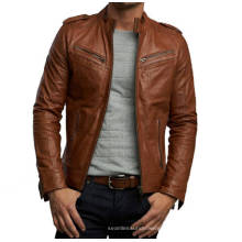 New unisex design leather jacket tan brown