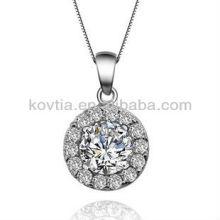 Cubic zircon diamond jewelry round sterling silver pendant