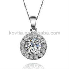 Кубический цирконий бриллиантовые украшения круглый стерлингового серебра подвеска