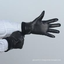 Gants en cuir noir et noir avec manchette