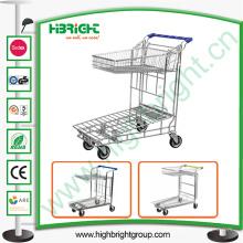 Chariot d'entrepôt de chariot à achats de deux rangées de comprimé