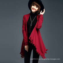 Senhora moda viscose malha franja inverno cardigan (yky2065)