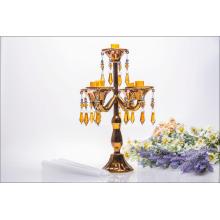 Golden Five Poster Candle Holder for Wedding Decoration