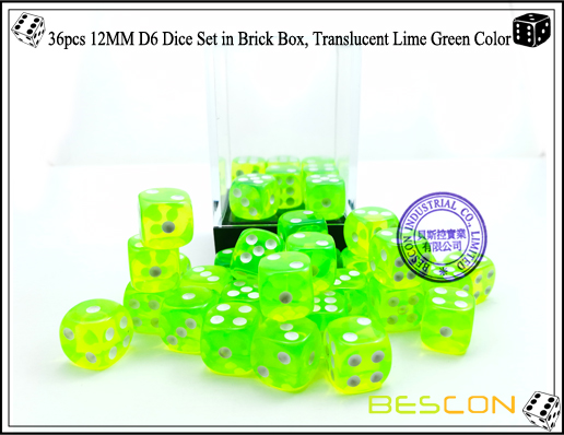 36pcs 12MM D6 Dice Set in Brick Box, Translucent Lime Green Color-4