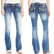 Custom Fashion Hot Women Bootcut Wash Denim Cotton Jeans