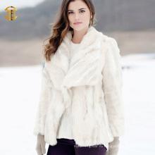 Белая жесткая трикотажная настоящая меховая пальто из кролика с длинными рукавами