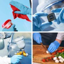 Luvas descartáveis de nitrilo para preparação de alimentos
