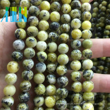 Jóia de pedra Beads Preço de atacado Gemstone Rodada Beads Natural Amarelo Howlite Semi Pedra Preciosa