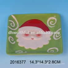 Excellent christmas kitchenware,ceramic santa plate wholesale