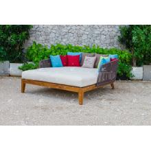 Meilleures ventes Hot Trendy Design Poly Rattan Double chaise longue pour jardin extérieur