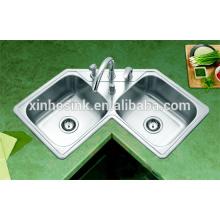 Из нержавеющей стали sus 304 Topmounted кухня угловая раковина с двойной чашей