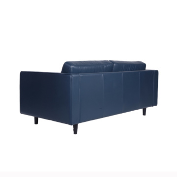 Popula Blue Leather Sven Sofa