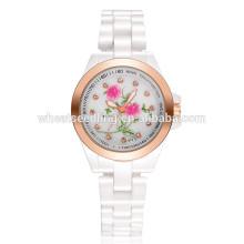 La última correa de reloj de cerámica blanca cristalina impermeable de la flor