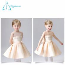 Champagne Scoop Sashes arco de alta calidad de raso vestidos de niña de la flor