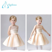 Champagne Scoop Sashes Bow High Quality Satin Flower Girl Dresses