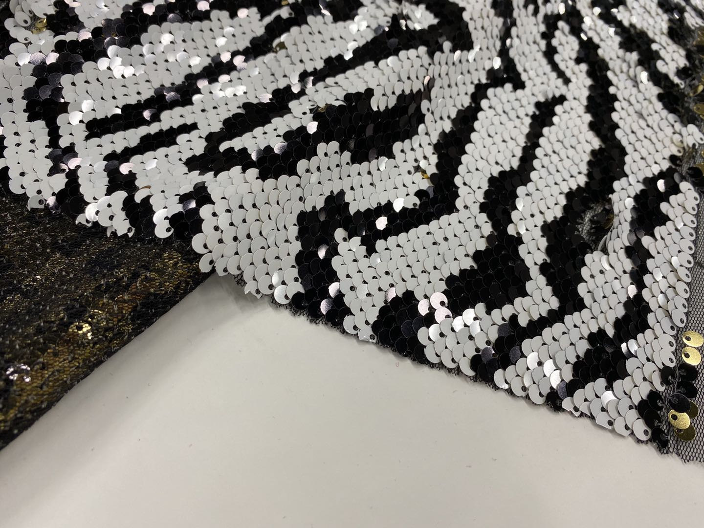 Black White Sequin Embroidery Fabric