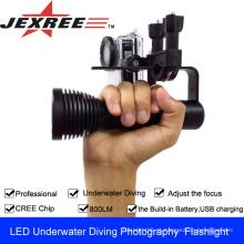 JEXREE cree levou lanterna de mergulho 800 lúmen para fotografia subaquática