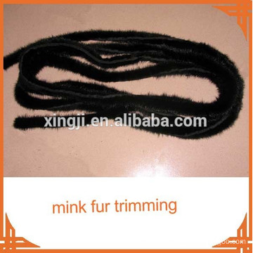 top quality natural black color mink tail Mink fur trimming for jacket