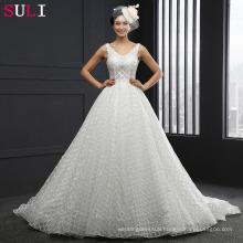 SL-3008 V-neck Sleeveles Backless A line Wedding Dress
