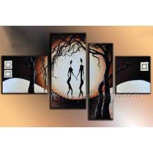 Pintura al óleo africana atractiva hecha a mano de la mujer del 100% para la decoración (AR-149)