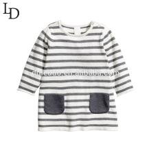 Cómodo otoño manga larga rayas niños algodón camiseta de los niños