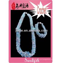 colar e pulseira fio feito à mão jóias de crochê