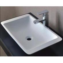 Lavado a mano diseño moderno lavabo de mármol baño blanco (BS-8325)