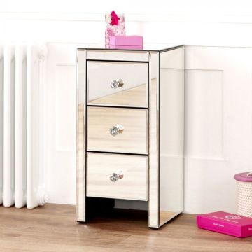 Venetian Mirrored 3 Drawer Slim Narrow Bedside