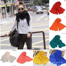 Ningbo lingshang Wholesale 100%cotton chiffon pashmina shawl scarf