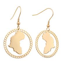Customised Stainless Steel 18K Gold Plated African Map Earrings earrings for women