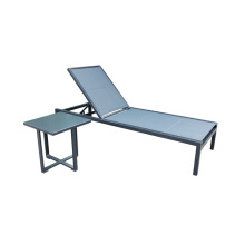 Outdoor aluminum sling sun lounger with side table
