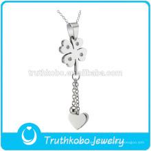 TKB-JP0165 Frauen neues Design Kristall gepflastert vier der Klee mit Herz verlängern Kette Edelstahl Glücksbringer Anhänger