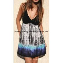 Контраст вязать с Сплетенная ткань сексуальный мода лето женщины платье