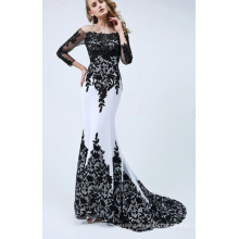 Long Sleeve Appliques Lace Mermaid Evening Dress Evening Gowns