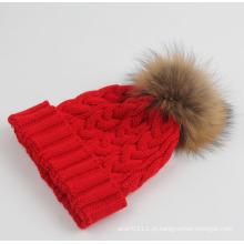 Senhora moda racoon fur acrílico de malha chapéu de inverno quente (yky3122)