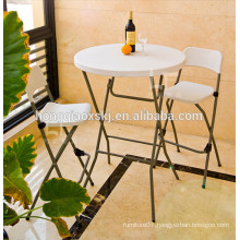 Cheap White Plastic Folding Round Bar Table (blow mold, HDPE, outdoor,cocktail, dining)