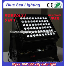 led stage lighting 60pcs 18w dmx 6 in 1 rgbwauv outdoor led lights wall washer